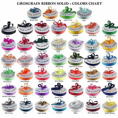 "Grosgrain Ribbon 1/4"", 3/8"", 5/8"", 7/8"". 1.5"" 50 Yards Roll Bulk 40 Colors"