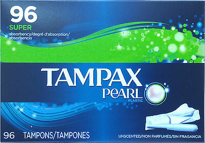 BIG BOX 96 Super Absorbency Tampons, Tampax Pearl Unscented Plastic, From CANADA