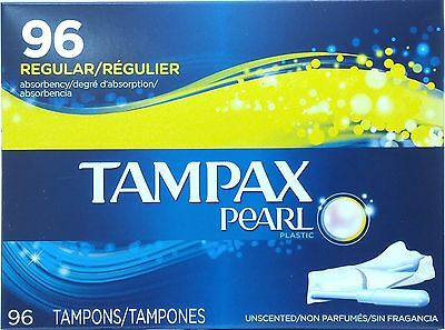BIG BOX 96 Regular Absorbency Tampons Tampax Pearl Unscented Plastic from CANADA
