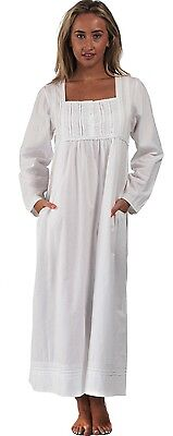 100%  Cotton Long SleeveVictorian Nightdress With Pockets - Victoria- M- 4XL