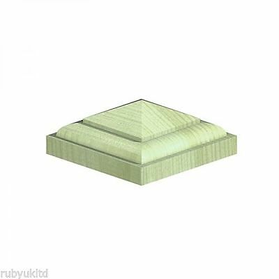 """126mm Temple Pyramid Green Treated Wood Decking Fence Post Caps for 4"""" posts"""