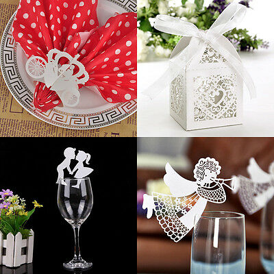 50 PCS Love Heart Laser Cut Candy Gift Boxes With Ribbon Wedding Party Favor