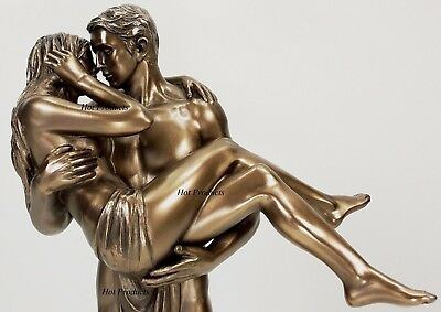 LOVERS STATUE Man Carrying Woman / Male Kissing Female Statue Bronze Finish