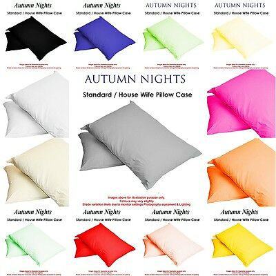 Pillow Cases Housewife Plain Cover Poly Cotton Bedroom Luxury Single Pair Pack
