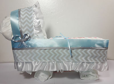 Diaper Cake Bassinet Carriage Baby Shower Gift for Boys - Blue/Silver - Large