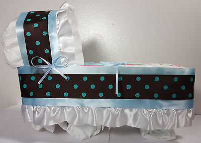 Diaper Cake Bassinet Carriage Baby Shower Gift Boys - Blue/Brown Dots - Large