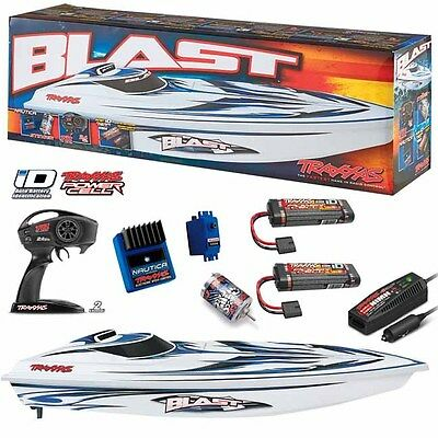 Traxxas 38104-1 Blast Electric Race Boat w/ TQ Radio /Charger + Extra iD Battery