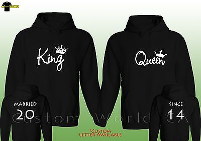 Couple Custom Made Hoodie  Married Since King And Queen NEW Love Matching Hooded