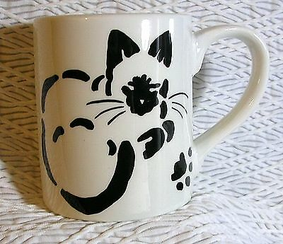Siamese Stencil Mug Black & White Cat Ceramic Original Design Handmade by GMS