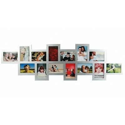 Multi Photos Multiple Pictures Frame 14 Pcs Set Elegant Modern Silver Wood Decor