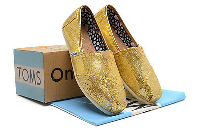 New Authentic Women Gold Glitter Toms Shoes