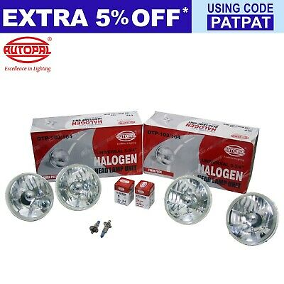 "4 Crystal Headlight 5-3/4"" Round Lamp Kit Halogen H4 60/55w / H1 100w High Beam"