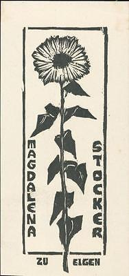 Magdalena Stocker. Sunflower. 'Zu Eigen'  Bookplate  QR695
