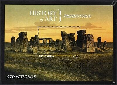 STONEHENGE Prehistoric Monument (History of Art) Stamp Sheet (2013 Gambia)