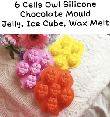 6 x Owl Silicone Ice Cube Jelly Chocolate Mould DIY Kids Party Bag Present Blue