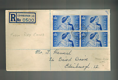 1948 England First Day Cover FDC QE II Queen Elizabeth Marriage Block 4 267