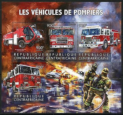 Central Africa  2016 Fire Fighting Vehicles Sheet  Mint Nh