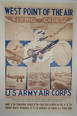 """Original WWII US AAC Army Air Corps Recruiting Poster """"West Point of the Air"""""""