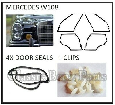 Mercedes W108 Door Seals Weathership Rubber Gaskets - 250S 250SE 280S 280SE