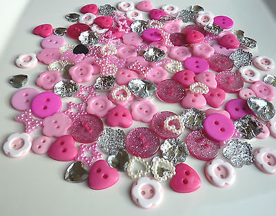 150 Mix Pink Silver Buttons Flat Back Embellishments Scrapbooking Craft Sewing
