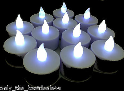 24x WHITE LED TEA LIGHT CANDLES TEALIGHT TEA LIGHTS WITH BATTERIES NEW