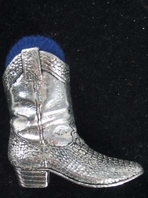 Heirloom Pewter Cowboy Boot Pin Cushion Pincushion Collectible