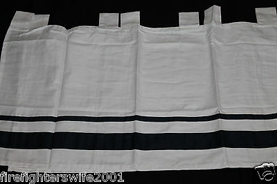 Sweet JoJo Designs Navy White Hotel Window Valance Tab Top 54x15 new
