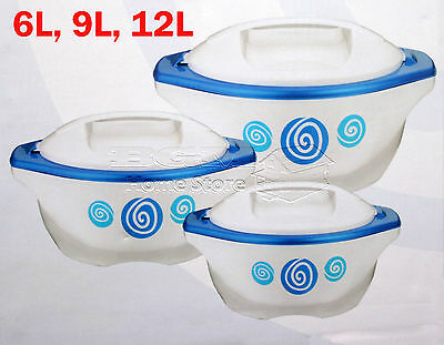 Large 3Pc Hot Cold Round Insulated Casserole Hot Pot Set Food Warmer BLUE PRO