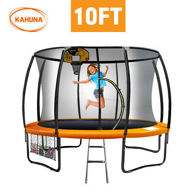 10ft Round Trampoline Safety Net Spring Pad Cover Mat Free Ladder Basketball Set