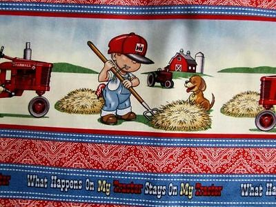"""Case International Harvester Farmall Ih """"What Happens On My Tractor"""" Boy Fabric"""