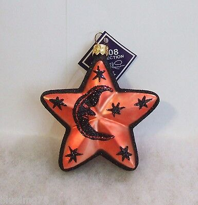 Slavic Treasures Ornament Vintage Sparkle Star Moon Hand Blown Glass Poland S617