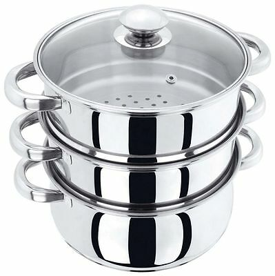Judge 20cm Stainless Steel 3 Tier Steamer & Glass Lid Induction Colander