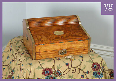 Antique Victorian Colonial Camphor Wood & Brass Nautical Military Writing Box