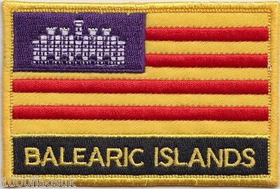 Spain Balearic Islands Flag Embroidered Patch Badge - Sew or Iron on