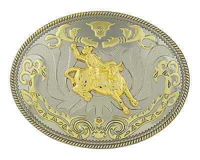 Bull Rider Large Oval Western Rodeo Gold Color Belt Buckle