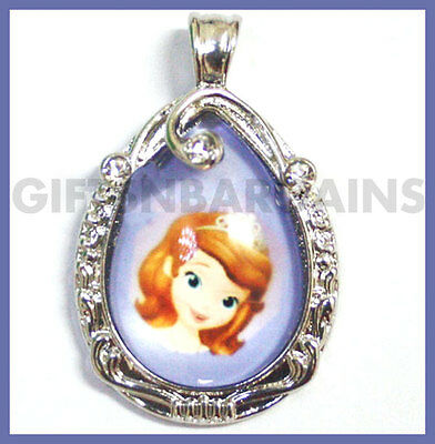 Sofia The First Necklace Purple Teardrop Amulet Pendant Cosplay Chain Gift Girl