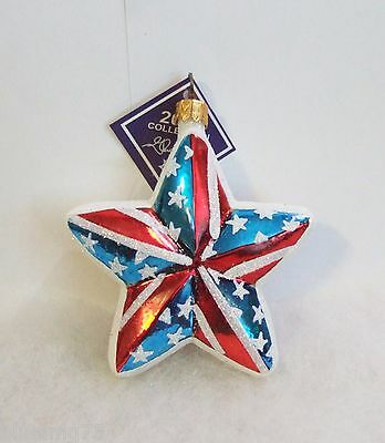 Slavic Treasures Ornament Shining Liberty Star Patriotic Hand Blown Glass S6 13