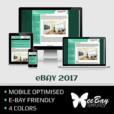 eBay Listing Template Professional Auction Design Mobile Friendly HTML 2017 *2R