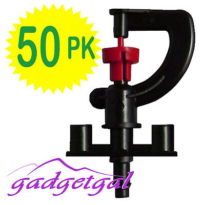 50 Pk of RED G Shaped 360° MICRO Sprinkler Irrigation for Poly Watering System