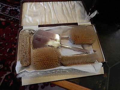 Antique/Vintage Sterling Silver Vanity Grooming Set Brush Mirror Box 5 Pcs. Set