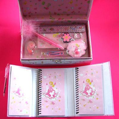 Deluxe Pink Princess Stationery Case + Personal Organiser NEW Birthday Xmas Gift