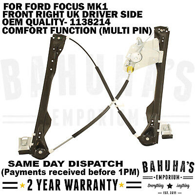 Front Right Driver Window Regulator For Ford Focus Mk1 W/out Multi Pin Motor New