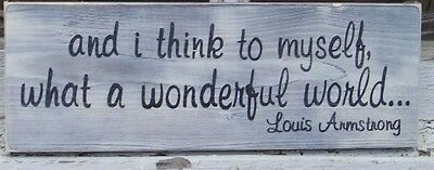and i think to myself what a wonderful world WOOD SIGN, Hand Painted, Customize