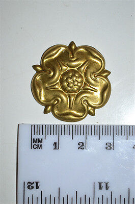 Original antique cast brass rose furniture mount mirror cartouche emblem RM8