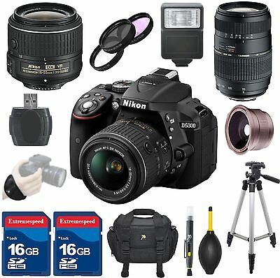 Nikon D5300 DSLR Camera Body + 18-55mm VR II Lens + Tamron 70-300mm Zoom Lens