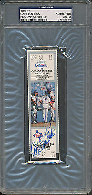 Carlton Fisk Signed 328th HR Ticket 8-17-90 PSA/DNA Certified Authentic Auto