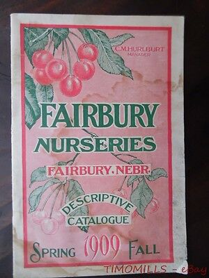 1909 Fairbury Nurseries Catalog Spring Garden Seed Flower Plant Nursery Nebraska