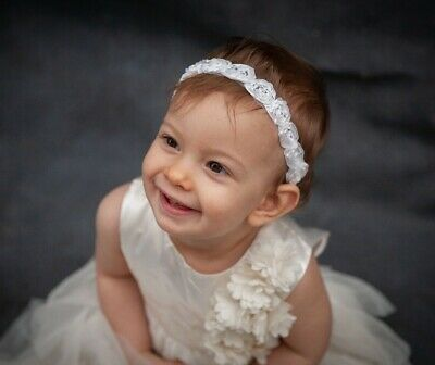 Baby Girl Headband Chiffon Rose Hairband Elastic Wedding Christening Ivory White