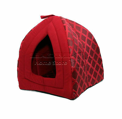 Large Folding Luxury Pet House Bed Cat Dog Kitten Warm Fleece Softcave Red Nd