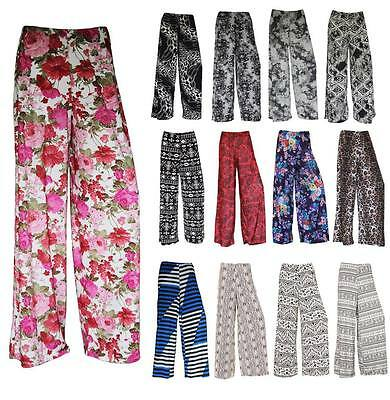 667b5814ab1 Womens Ladies Plus Size Printed Palazzo Trousers Summer Loose Fit Pants  Wide Leg